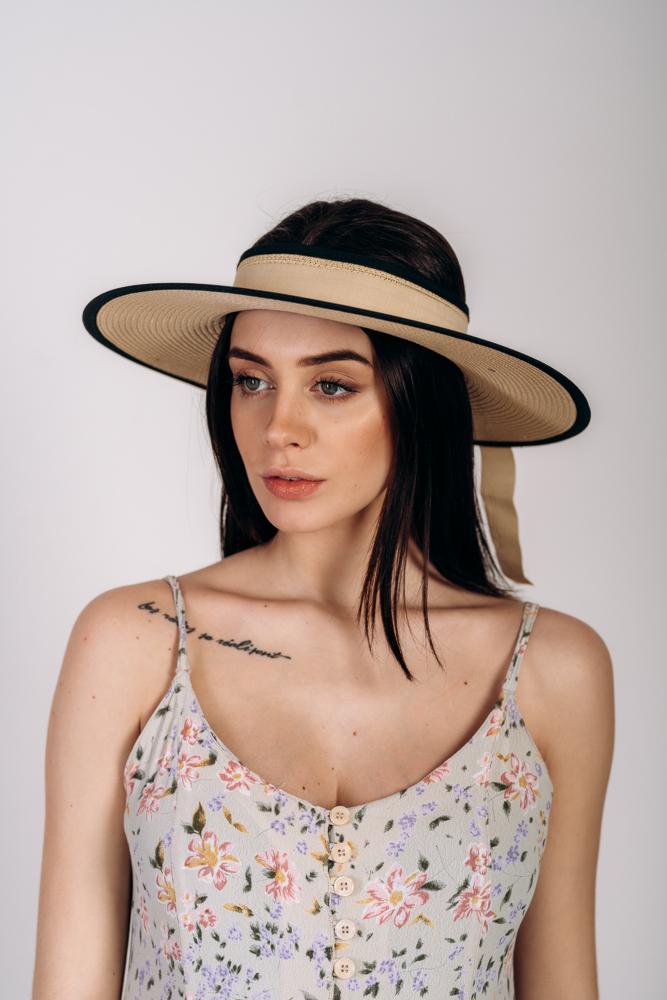 Шляпка широкополая без тульи оптом Артикул SHL 2015 песочная