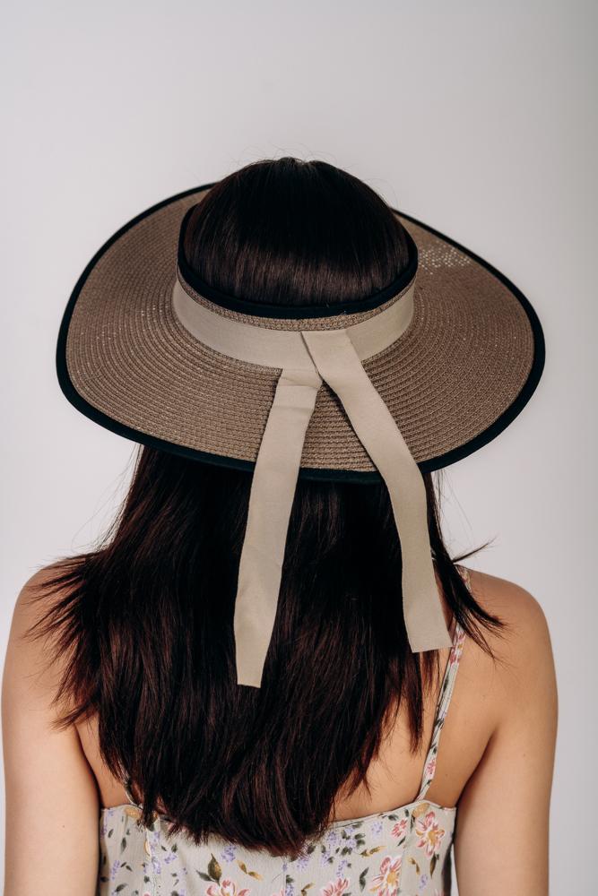 Шляпка широкополая без тульи оптом Артикул SHL 2015 темно-капучиновая